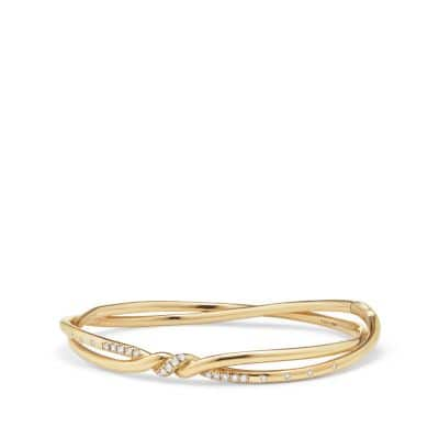 Continuance Center Twist Bracelet with Diamonds in18K Gold