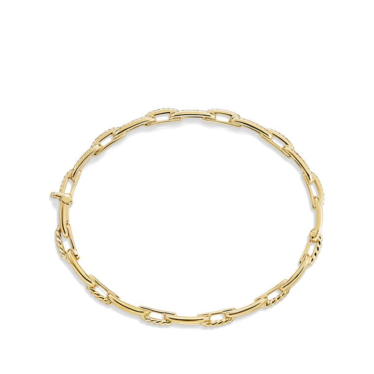 Stax Chain Link Bracelet with Diamonds in 18K Gold, 4mm