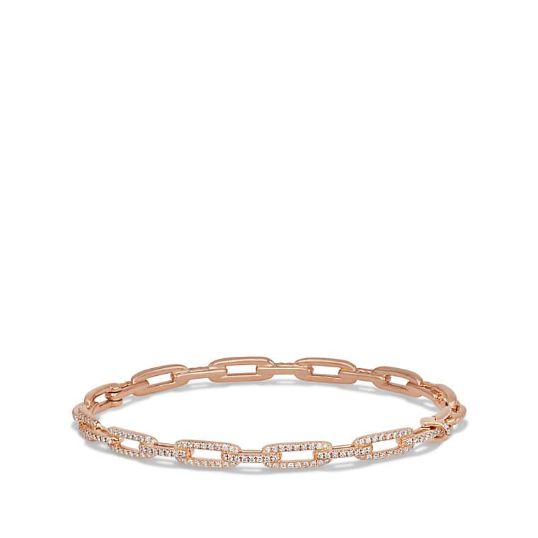 Stax Chain Link Bracelet with Diamonds in 18K Rose Gold, 4mm