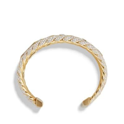 Stax Five Row Cuff Bracelet with Diamonds in 18K Gold, 35mm