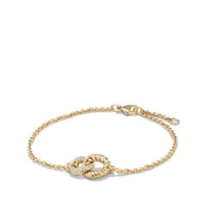 Belmont® Curb Link Pendant Bracelet with Diamonds in 18K Gold