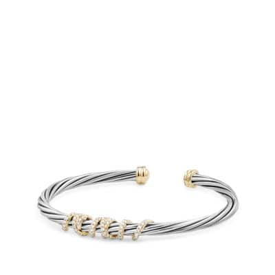 Helena Center Station Bracelet with Diamonds and 18K Gold, 4mm