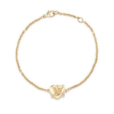 Le Petit Coeur Sculpted Heart Chain Bracelet with Diamonds in 18K Gold