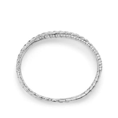 Pavéflex Three Row Bracelet with Diamonds in 18K White Gold