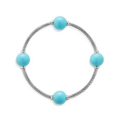 Mustique Four Station Bangle Bracelet with Turquoise