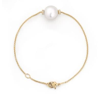 Solari Single Station Bracelet in 18k Gold with Diamonds and South Sea White Pearl