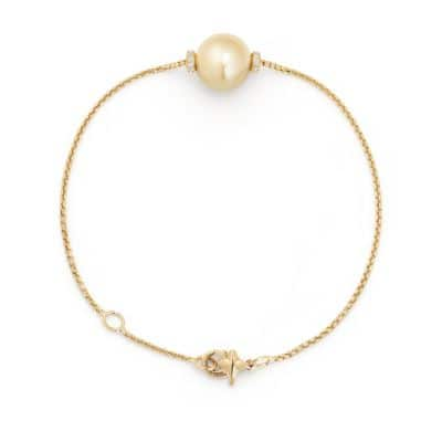 Solari Single Station Bracelet in 18k Gold with Diamonds and South Sea Yellow Pearl