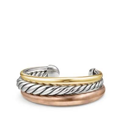 Pure Form® Mixed Metal Three-Row Cuff with Bronze, Silver and Bronze, 24mm