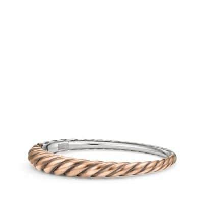 Pure Form® Mixed Metal Cable Bracelet with Bronze and Silver, 9.5mm