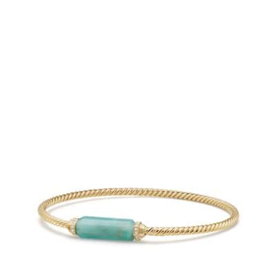 Barrels Bracelet with Diamonds and Amazonite in 18K Gold