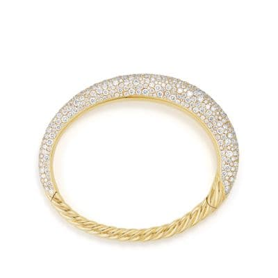 Pure Form® Full Pave Smooth Bracelet in 18K Gold, 9.5mm