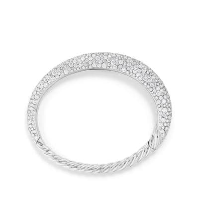 Pure Form® Full Pave Smooth Bracelet in 18K White Gold, 9.5mm