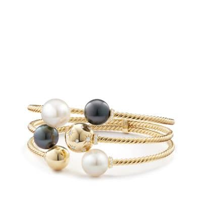 Solari Three-Row Bracelet with South Sea White Pearl, Tahitian Grey Pearl and Diamonds in 18K Gold
