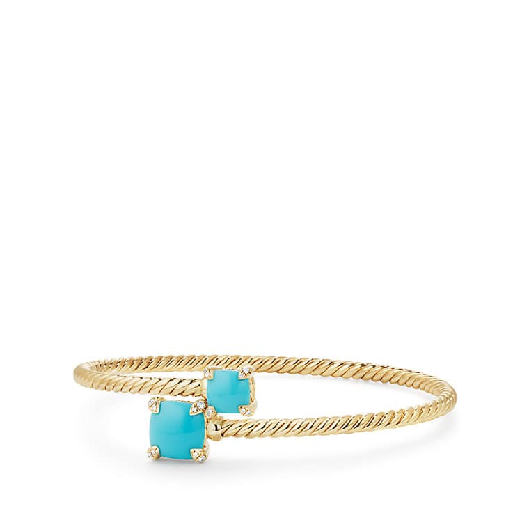 Chatelaine® Bypass Bracelet with Turquoise and Diamonds in 18K Gold