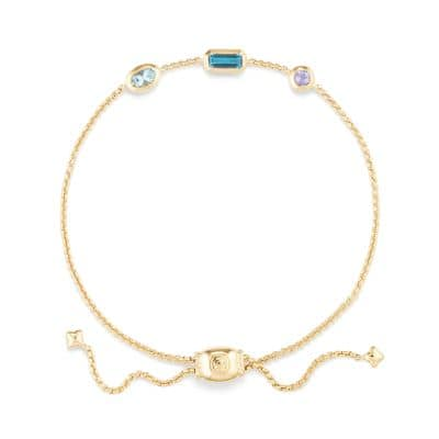 Novella Chain Bracelet in Hampton Blue Topaz, Aquamarine, and Tanzanite