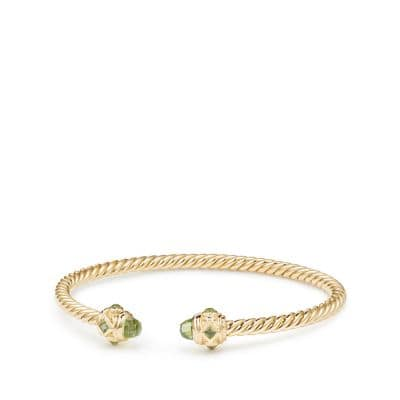 Renaissance Bracelet with Peridot in 18K Gold, 3.5mm