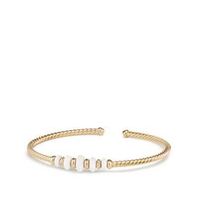 Rio Rondelle Cabled Cuff Bracelet with White Agate in 18K Gold