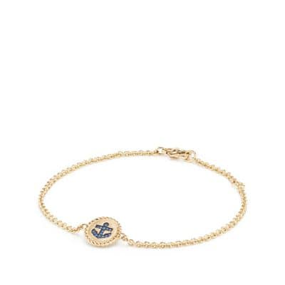Cable Collectibles Anchor Bracelet with Light Blue Sapphires in 18K Gold