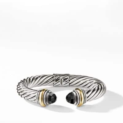 Cable Classics Bracelet with Black Onyx and 14K Gold, 10mm