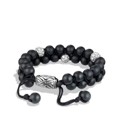 Spiritual Beads Two-Row Bracelet with Black Onyx and Diamonds