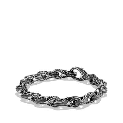 Armory Figure-Eight Link Bracelet with Black Diamonds, 9.5mm