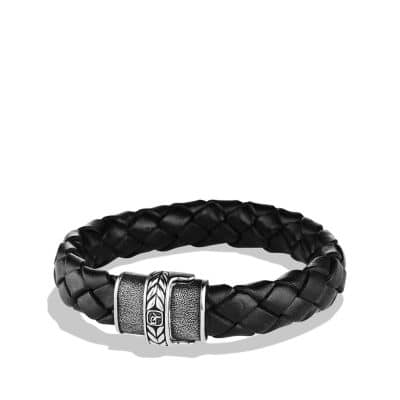 Chevron Bracelet in Black Leather