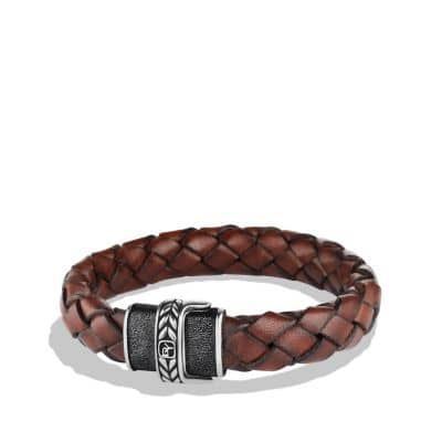 Chevron Bracelet in Brown Leather