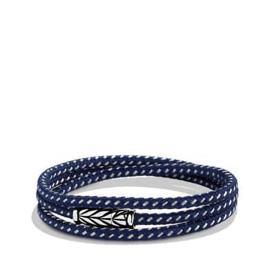 Chevron Triple-Wrap Bracelet in Blue