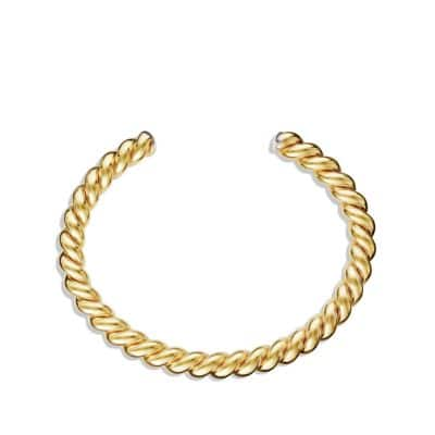 Cable Cuff Bracelet with 18K Gold, 6.5mm