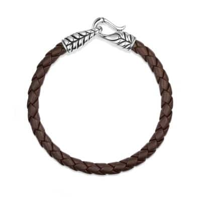 Chevron Woven Leather Bracelet in Brown, 6mm