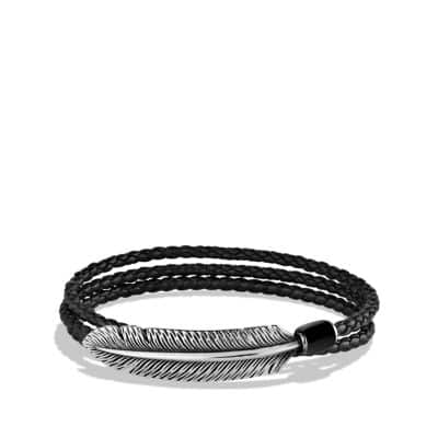 Feather Triple-Wrap Bracelet in Black Leather with Black Onyx