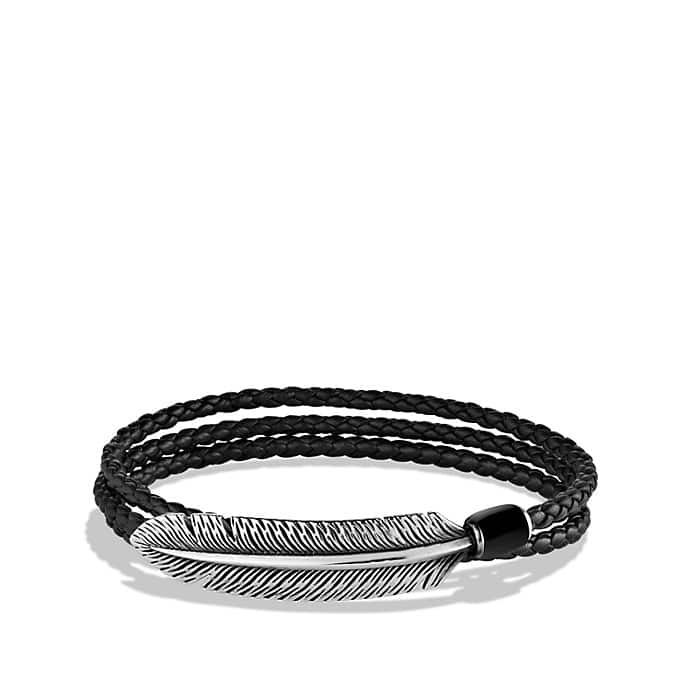 Feather Triple-Wrap Bracelet in Black with Black Onyx