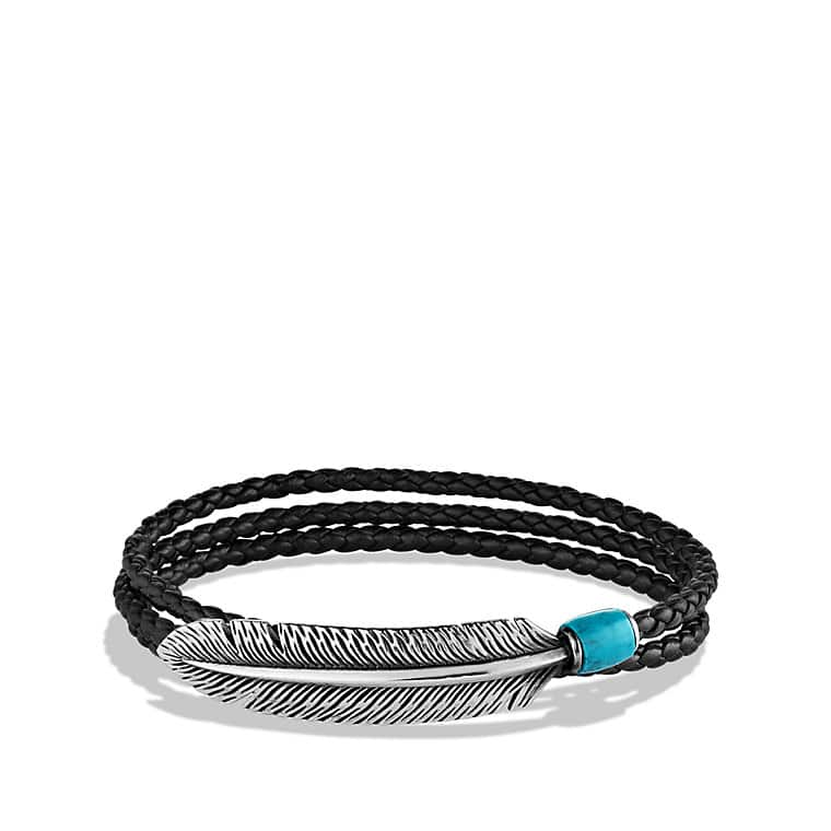 Feather Triple-Wrap Bracelet in Black with Turquoise