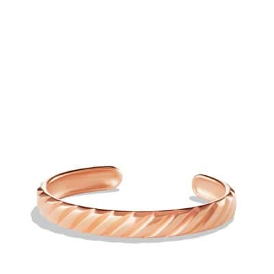 Modern Cable Cuff Bracelet in 18K Rose Gold, 10mm