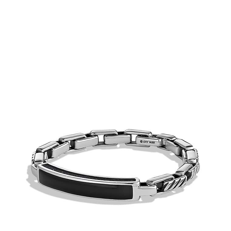 Modern Cable ID Bracelet with Black Onyx