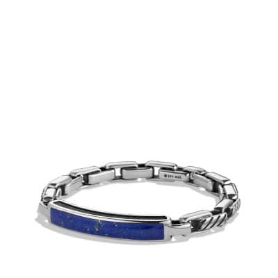 Modern Cable ID Bracelet with Lapis Lazuli