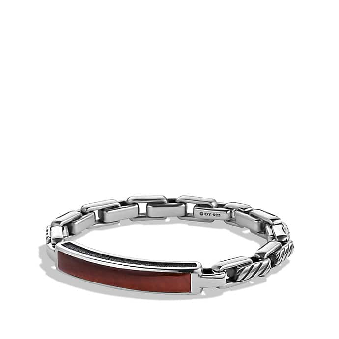 Modern Cable ID Bracelet with Red Tiger's Eye