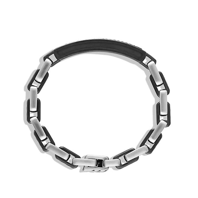 Modern Cable ID Bracelet with Black Diamonds