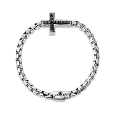 Pavé Cross Bracelet with Black Diamonds