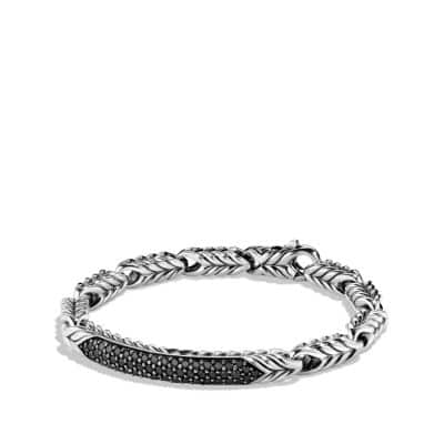 Chevron ID Bracelet with Black Diamonds