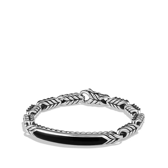 Chevron ID Bracelet with Black Onyx