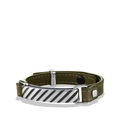 Modern Cable ID Bracelet in Army Green Leather