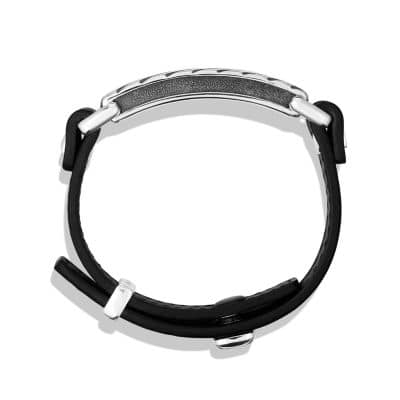 Modern Cable ID Bracelet in Black Leather