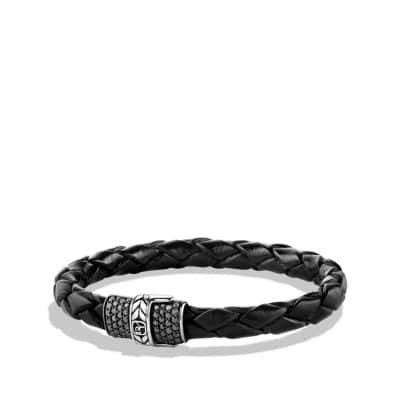 Chevron Narrow Woven Leather Bracelet with Black Diamonds in Black, 8mm