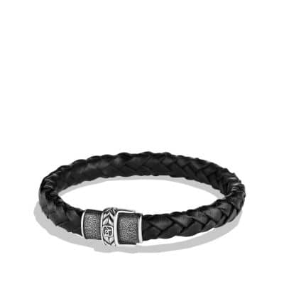 Chevron Narrow Woven Leather Bracelet in Black, 8mm