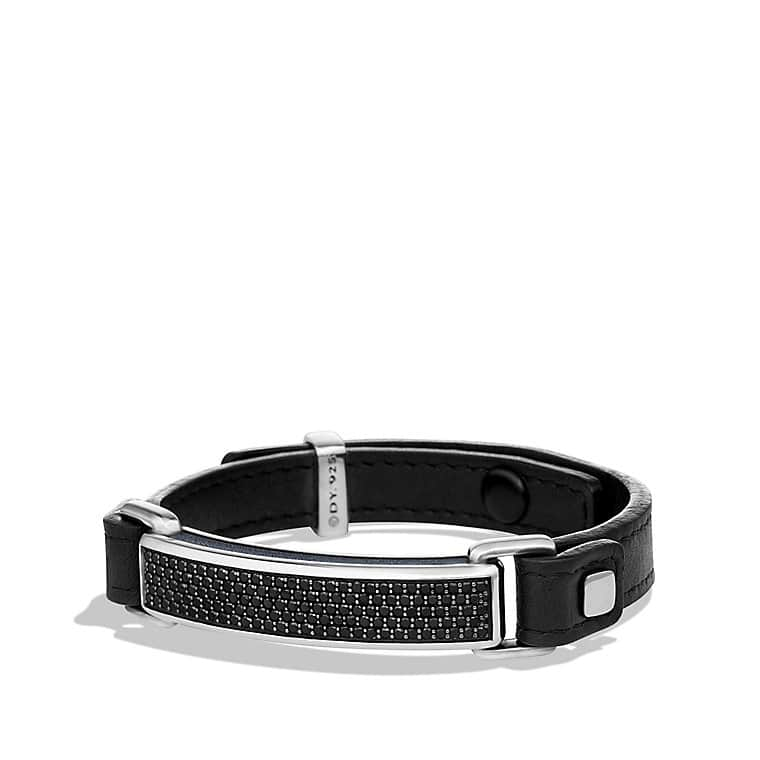 Pavé ID Bracelet with Black Diamonds in Black Leather