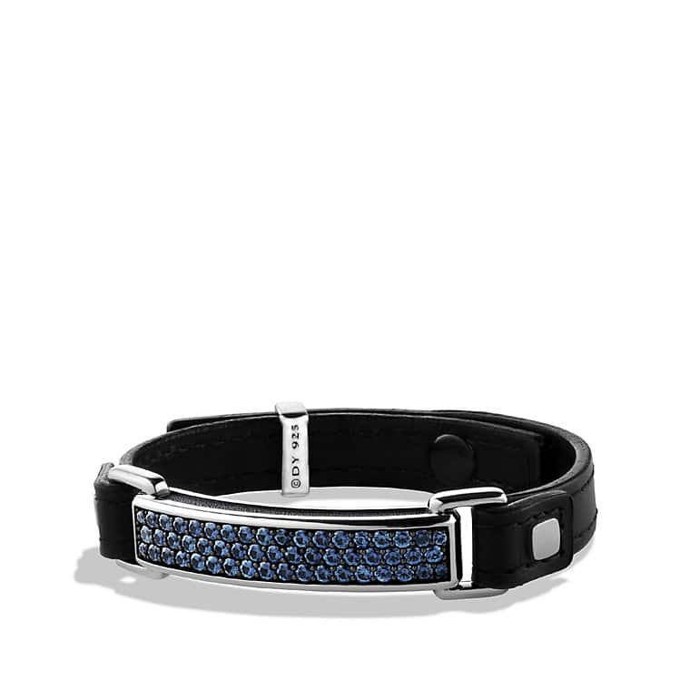 Pavé ID Bracelet with Sapphires in Black Leather