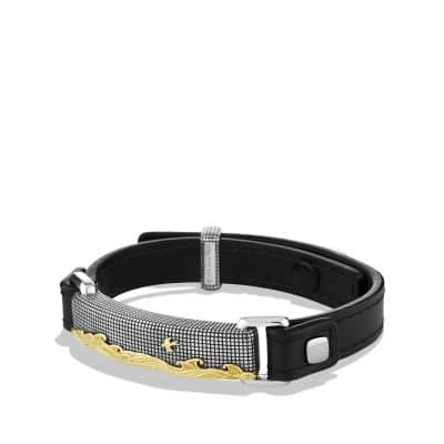 Waves ID Bracelet in Black Leather with 18K Gold