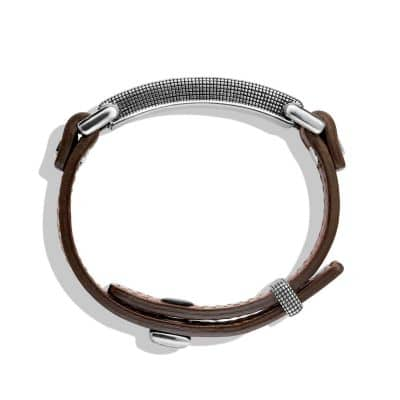 Waves ID Bracelet in Brown Leather with 18K Gold