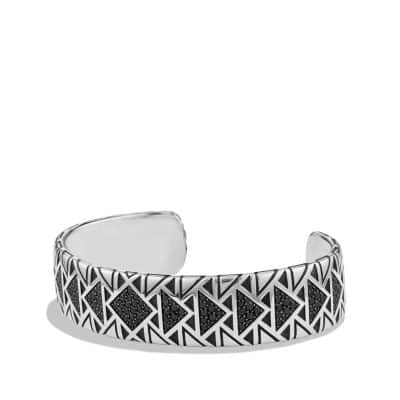 Cuff Bracelet with Black Diamonds
